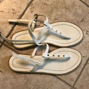 Kenneth Cole gladiator, white with gold studs